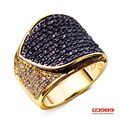 DC1989  gold plated Movie Stars Favorite Hot Selling Women Jewelry Rings Black & White Cubic Zircon Setting  Copper Ring