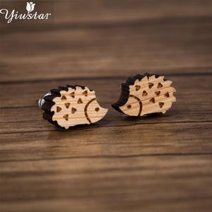 Yiustar Unique Hedgehog Stud Earrings Wood Jewelry Small Animal Wooden Earrings for Women Girls Kids Pendientes Gift for Paty