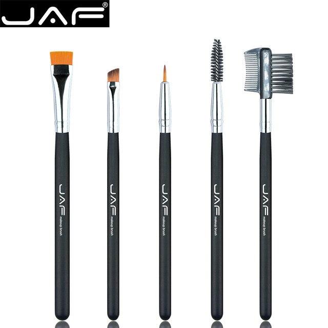 Mejor oferta nueva JAF 5 piezas mango negro cepillo de maquillaje profesional cara sombra de ojos cejas Eyeliner Lip maquillaje cepillos