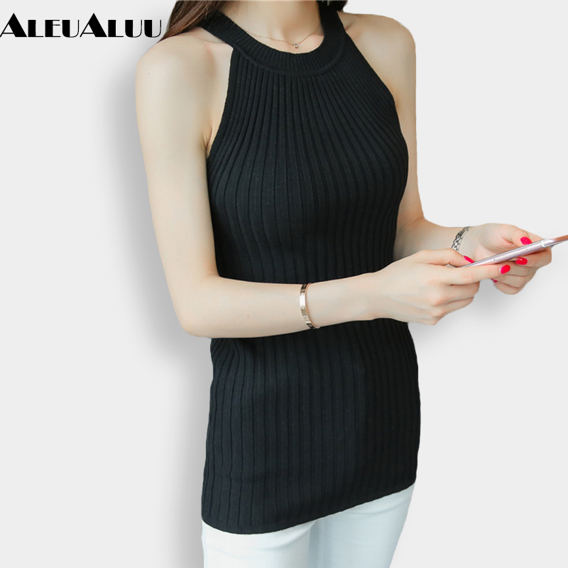 ALEUALUU Brand 2017 New Arrival Fshion Women Summer Sweaters Solid Casual Slim Elastic Women Vest Ladylike Sun-top AEU109