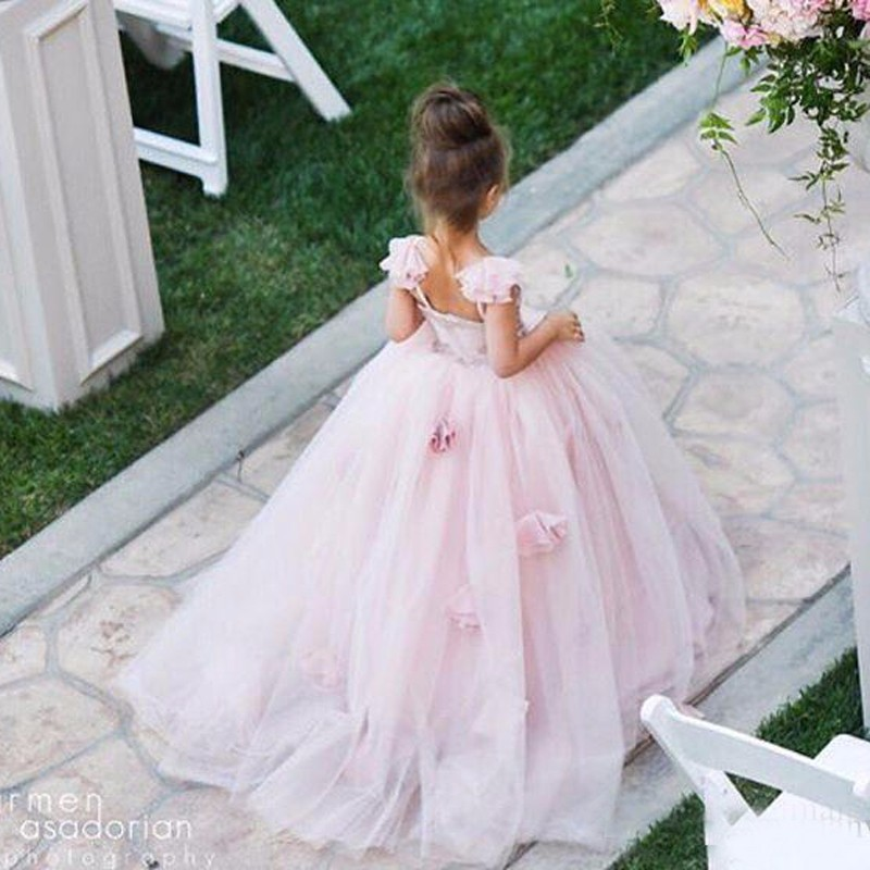 2 12Y Luxury Kids Gown Dress Flower Girls Dresses Trailing Appliques ... de8d3d987552