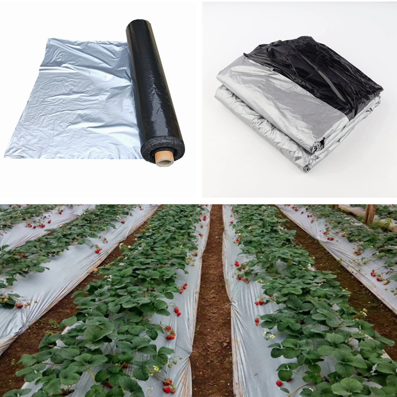 10m 0.012mm Mulch Film Silver Black Plastic Mulch Garden Ground Cover Film Frost Protection Keep Warm Weed Control