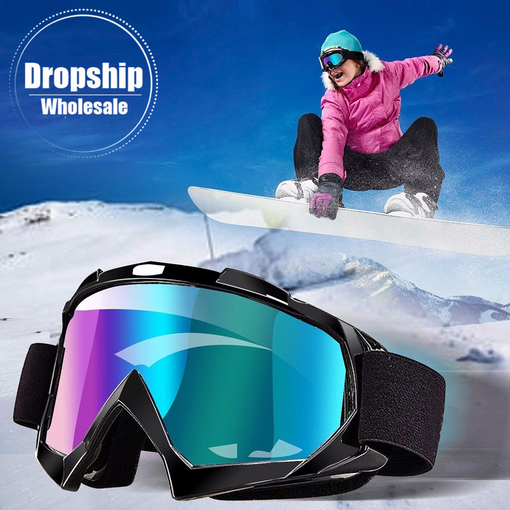 Men Women Snowboard Ski Goggles UV400 Windproof Sunglasses Sports Glasses Mask Skiing Snowmobile Eyewear Anti-fog Single Lens