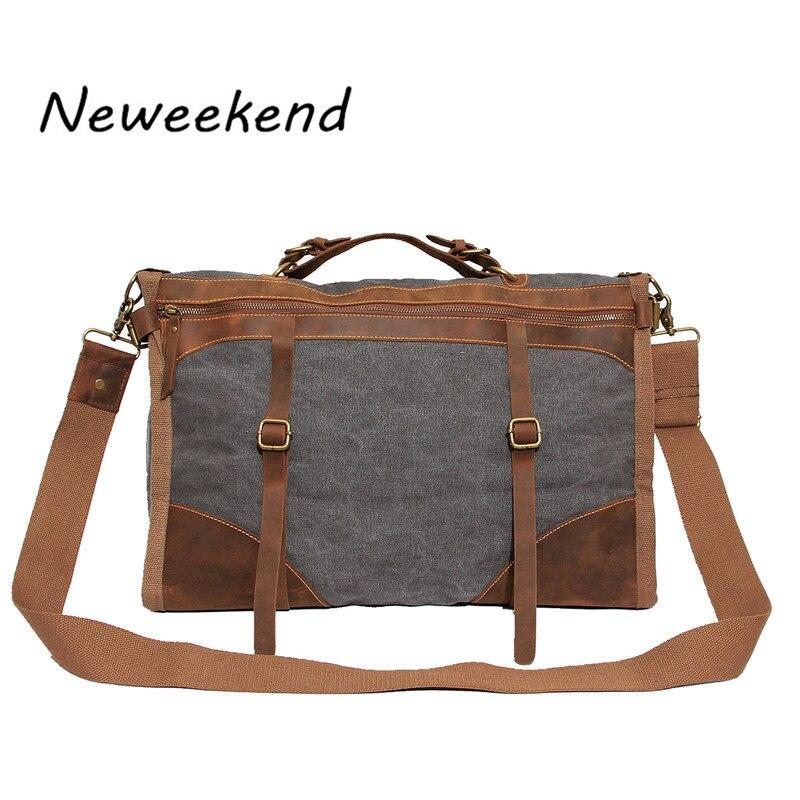 NEWEEKEND Unisex Vintage Crazy Horse Canvas Large Capacity Zipper Luggage Travel Handbag MS1043