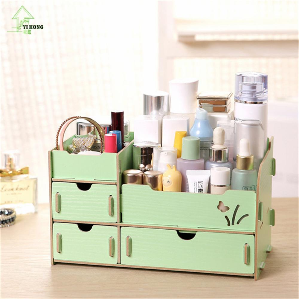 YIHONG Wooden Cosmetic box Cute Cat Pen Box Desktop Storage Assembly DIY Wood Makeup Organizer Jewelry Debris Storage Box