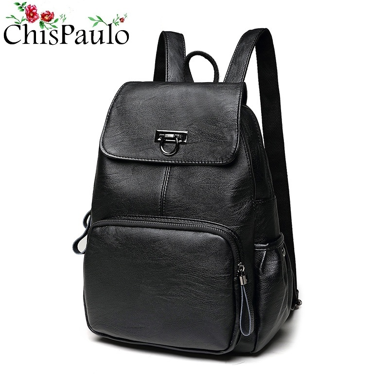 CHISPAULO Designer Cow Genuine Leather Backpack Women Bags Zipper Rivet Laptop Travel School Backpacks For Teenage Girls N101CHISPAULO Designer Cow Genuine Leather Backpack Women Bags Zipper Rivet Laptop Travel School Backpacks For Teenage Girls N101
