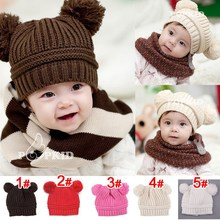 5pcs Free Shipping Hot 2013 New Cute Baby Winter Knitted Warm Cap Boy Lovely Beanie Girls' Hats For Baby 6-24 Month 5 Colors