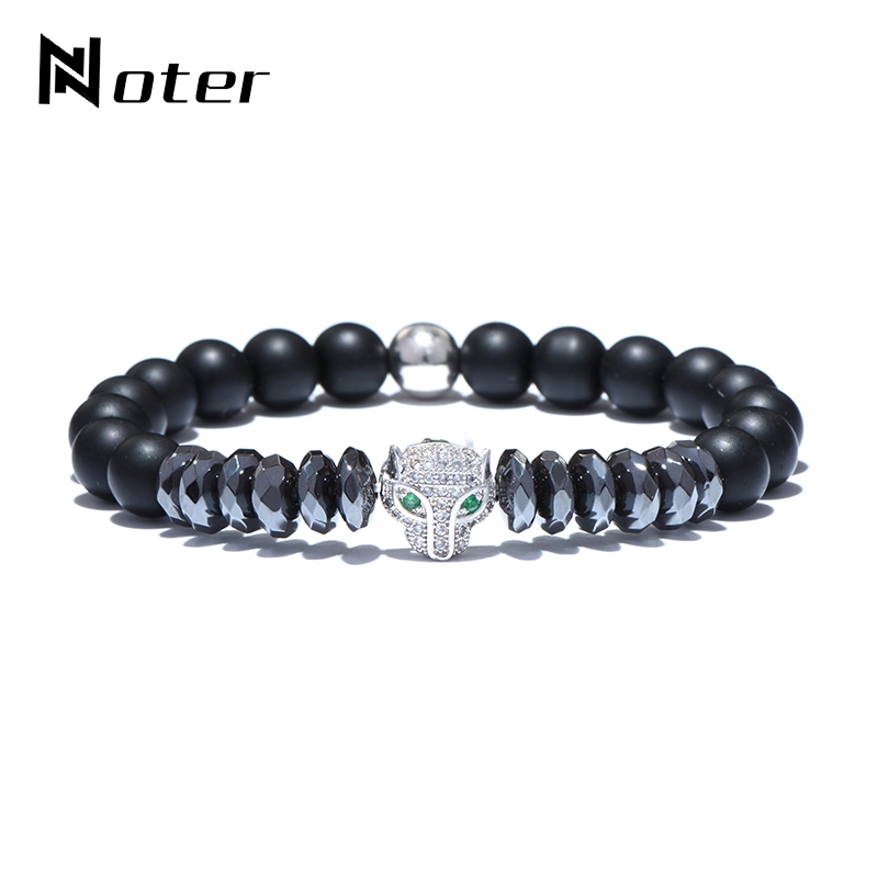 Noter Animal Head Crystal Leopard Bracelet Handmade Hematite Stone Beads Braslet For Men Hand Jewelry Pulsera Masculina