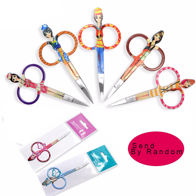 1pcs Small Curved Sharp Tip Eyebrow Eyelash Makeup Scissors Face Hair Trimmer Nose Scissors Cute Doll Design Make up Beauty Tool