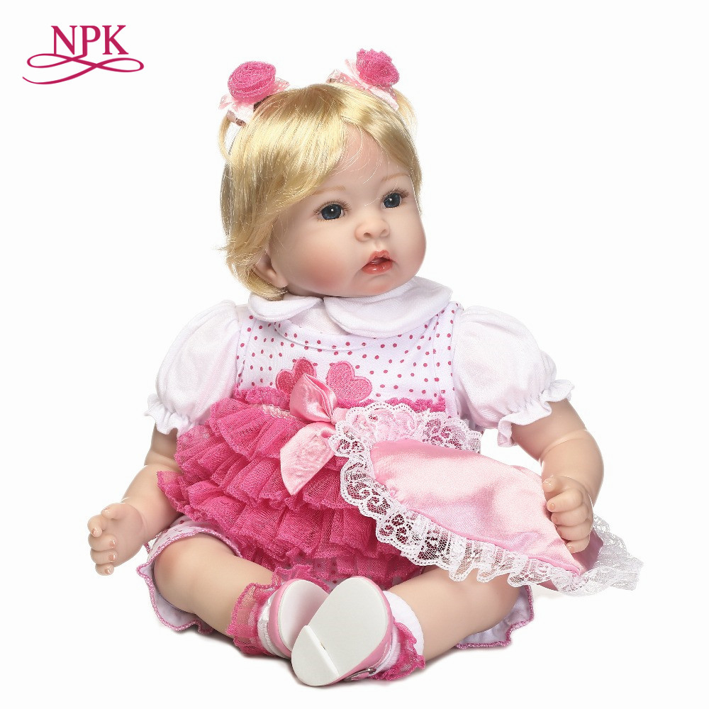 цена NPK 50cm Baby Doll soft cloth Body Silicone Vinyl Adorable Lifelike Toddler Baby Bonecas Girl Kid Bebe Reborn Dolls bonecas онлайн в 2017 году