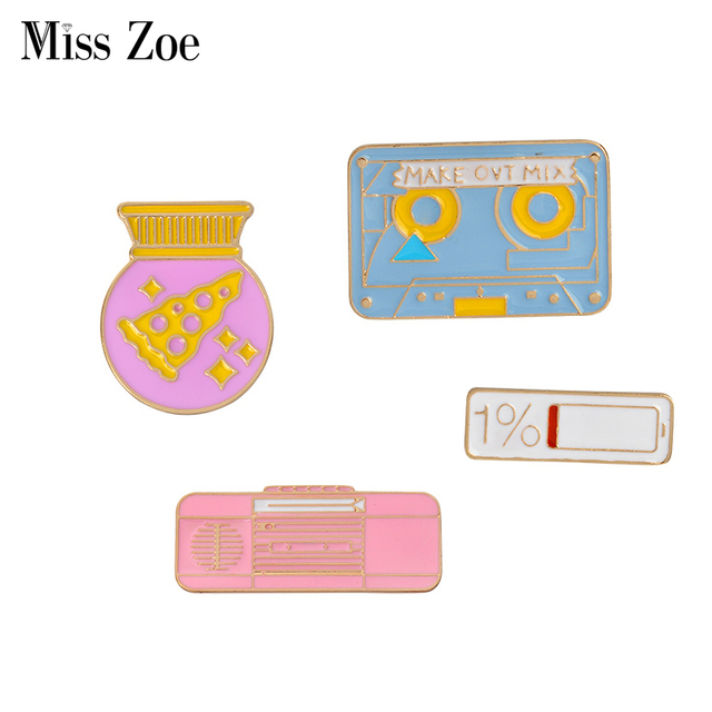 Enamel pins Pizza gift ball recorder tape 1% power Brooch Childhood Button Pin D