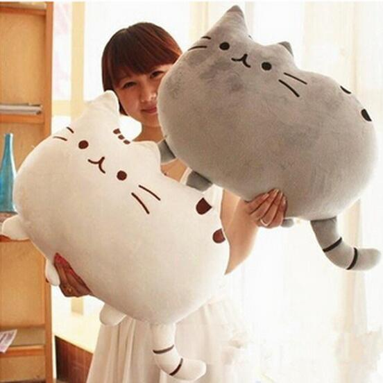 1pcs 40 30cm kawaii brinquedos cat pusheen pillow with zipper only skin without pp cotton biscuits