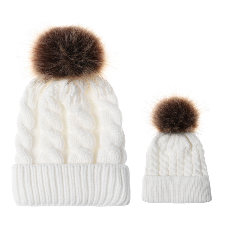 2pcs Mother Kids Child Baby Warm Winter Knit Beanie Fur Pom Hat Crochet Ski Cap Cute New Arrival Mom And Baby Knited Hats Accessories