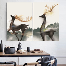 Animal Poster Abstract Deer Modern Pop Art Wall Painting Vintage Frame Canvas Print Pictures Nordic Decoration Home