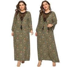 Women Maxi Long Sleeve Casual Dress Ethnic Vintage Kaftan Islamic Abaya Muslim Robe Floral Printing Shirt Dress Plus Size Gown(China)