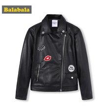 Balabala Girls PU Leather Biker Jacket Moto Jacket with Applique Children Teenager Girls Jacket Outwear Spring Autumn Clothes