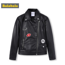 Balabala Girls PU Leather Biker Jacket Moto Jacket with Applique Children Teenager Girls Jacket Outwear Spring Autumn Clothes(China)