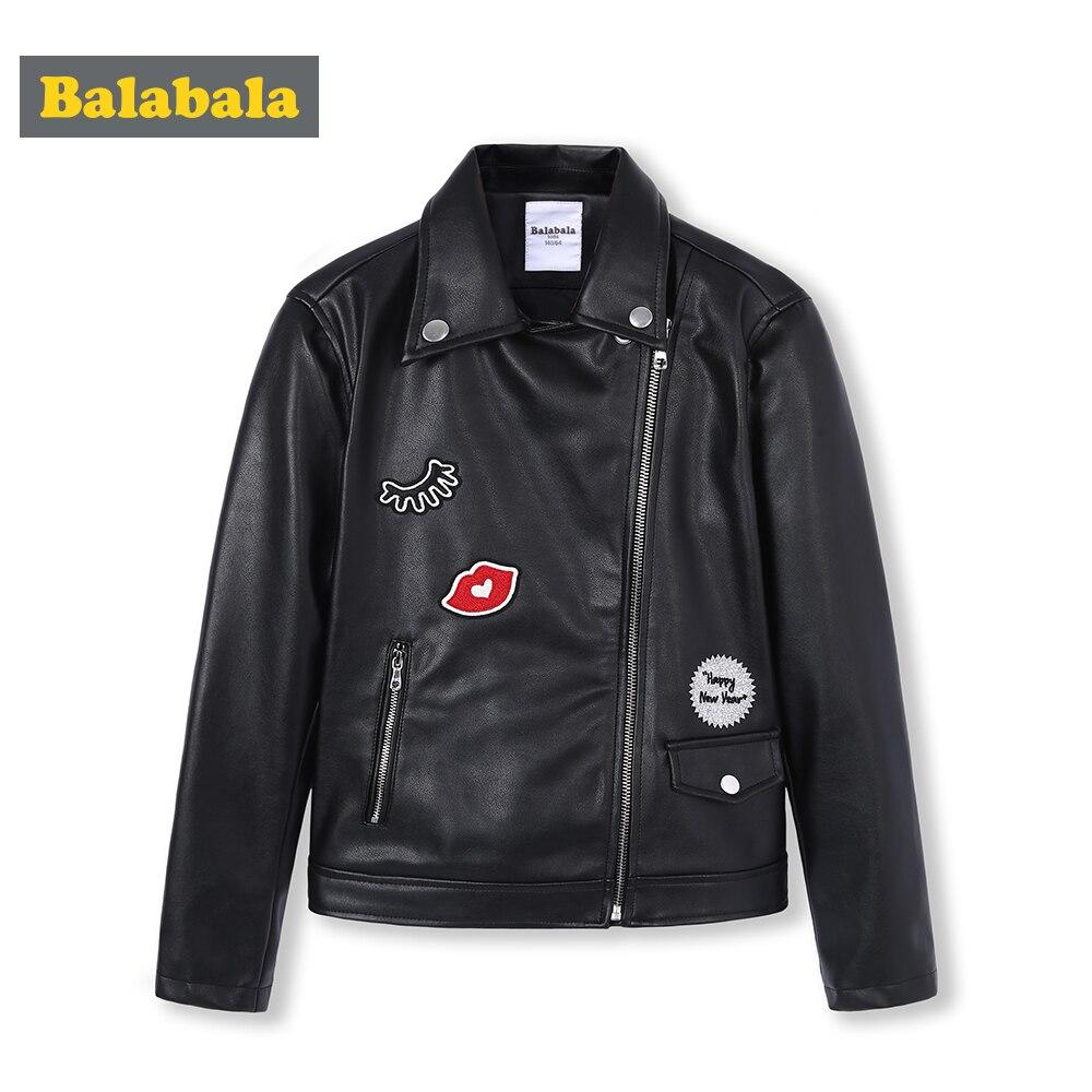 Balabala filles PU cuir Biker veste Moto veste avec Applique enfants adolescent filles veste Outwear printemps automne vêtements