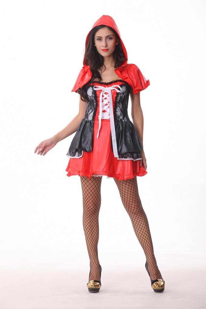 16791ff996b ... 2017 новая мода Хэллоуин костюм для взрослых женщин Фэнтези Дамы  Красная Шапочка костюмы ...