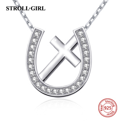 Strollgirl horseshoe&cross necklace with white CZ jewelry accessories 925 sterling silver necklace jewelry for women gifts 2019