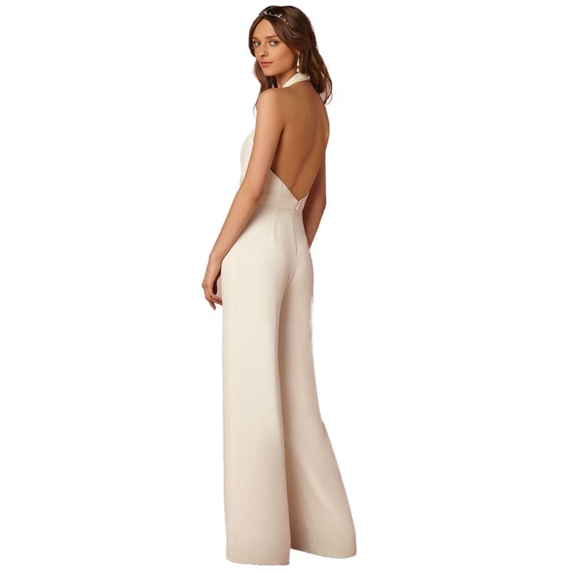 New sleeveless backless sexy Jumpsuit 2018 white deep V neck halt neck Elegant Jumpsuit Ladies casual Work loose Jumpsuit Romper