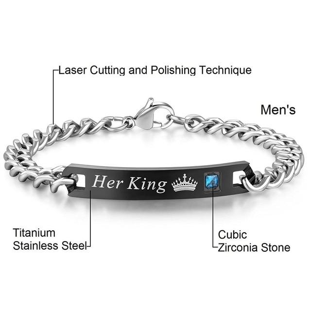 Aziz bekkaoui diy son roi sa reine couple bracelets en acier inoxydable crytal couronne charme bracelets pour femmes hommes drop shipping 3