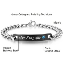 Her King His Queen Couple Bracelets Stainless Steel Crytal Crown Charm Bracelets