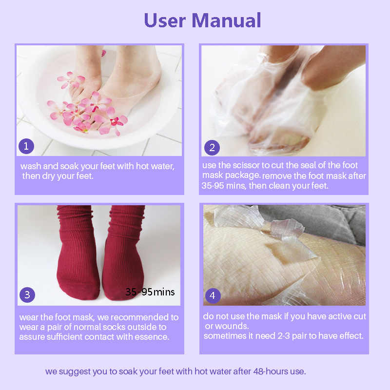 Efero máscara esfoliante para pés, peeling de pele morta, meias para pedicure, creme para pés, meias calcanhares
