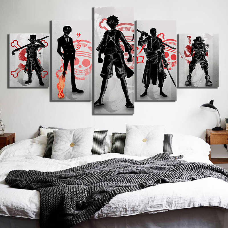 Canvas Prints Pictures Wall Art 5 Pieces One Piece Painting Home Decoration Animation Modern Modular Poster Living Room Frame
