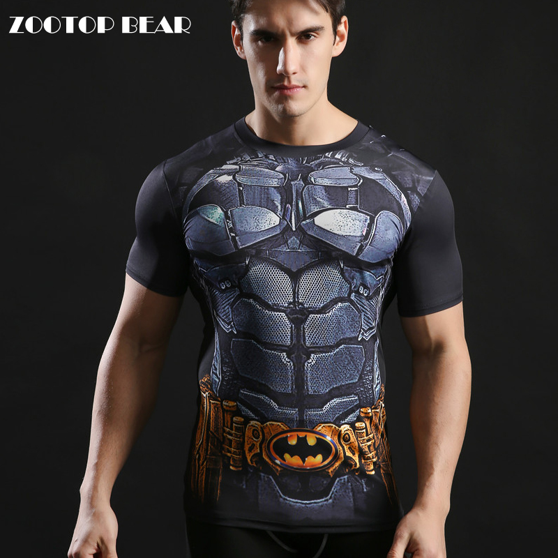 Batman Tops Compression funny Tees Fitness Superhero Superman Tshirts 2017 Summer Round Neck 3D Printed T shirt ZOOTOP BEAR