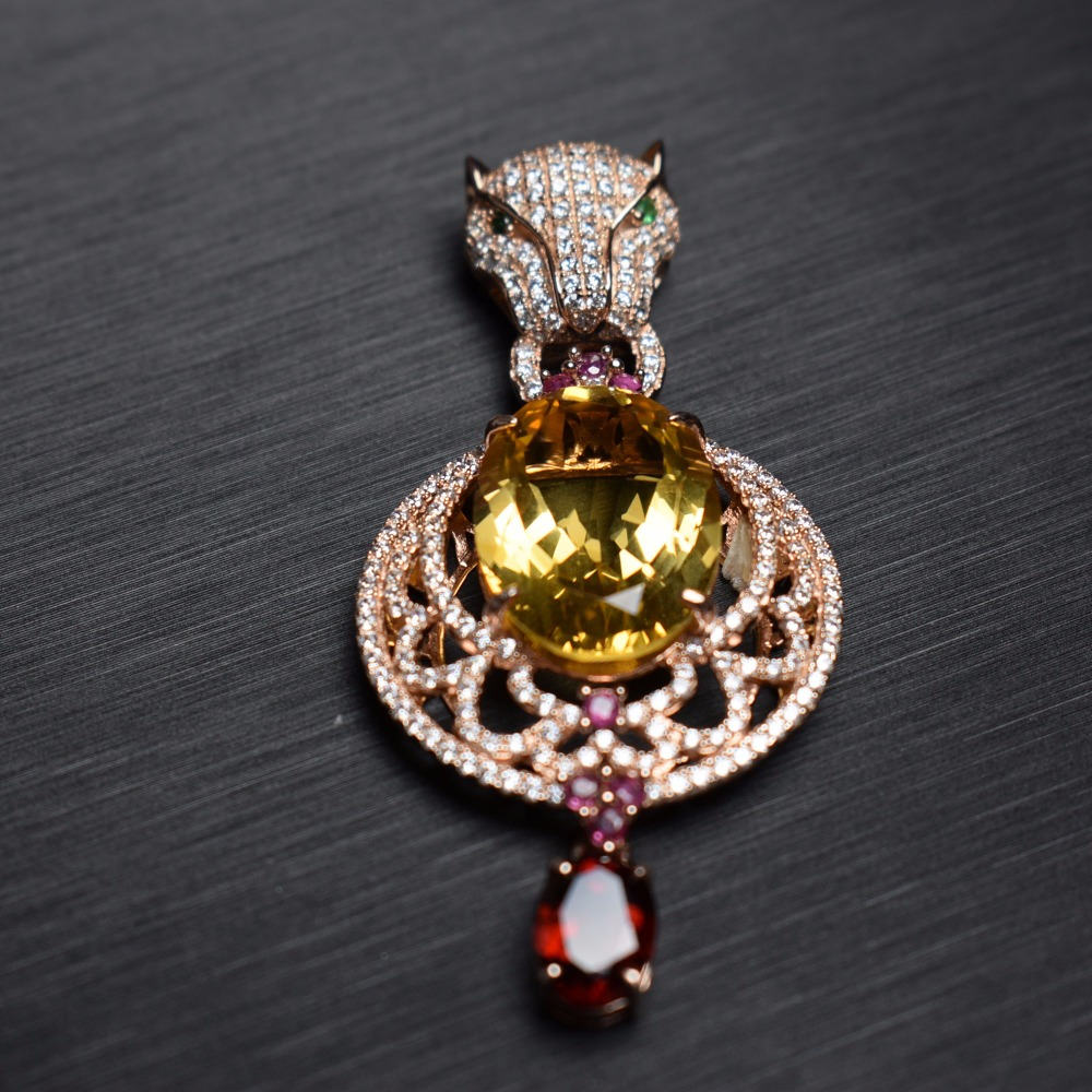 Fine Jewelry S925 solid sterling silver Natural Citrine Gemstone Female Pendant Necklace Leopards women fine pendant neckalcesFine Jewelry S925 solid sterling silver Natural Citrine Gemstone Female Pendant Necklace Leopards women fine pendant neckalces