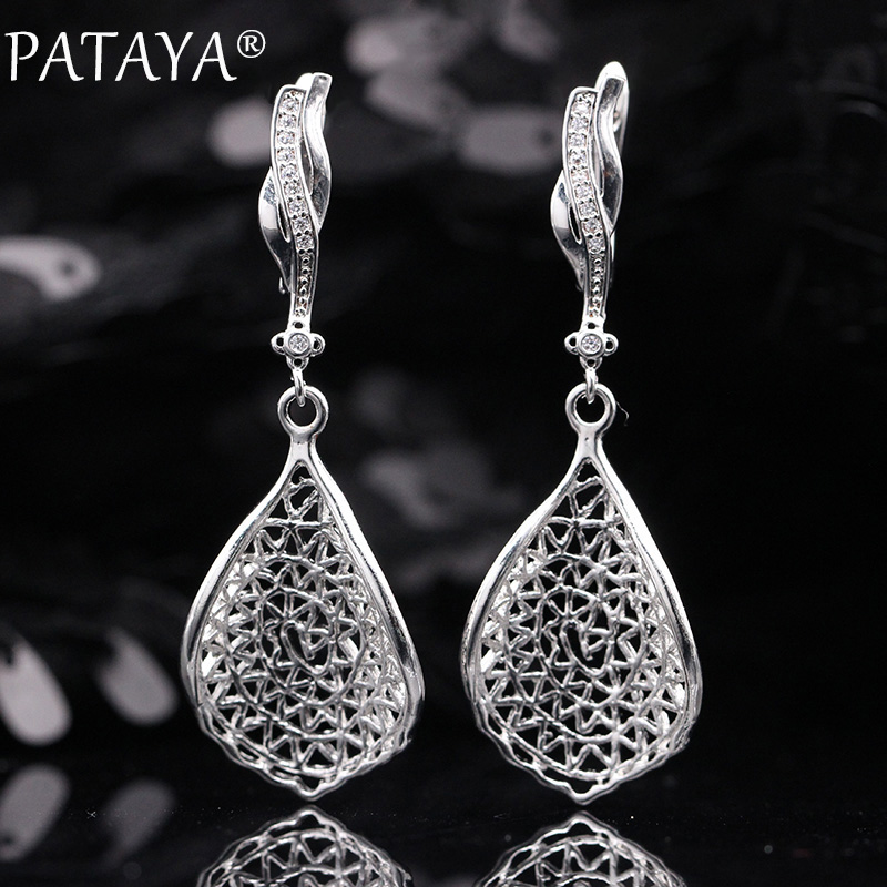 PATAYA New Gift Trendy 585 Rose Gold White Gold Natural Zircon Long Earrings Women Wedding Hollow Irregular Wave Earring Jewelry 7