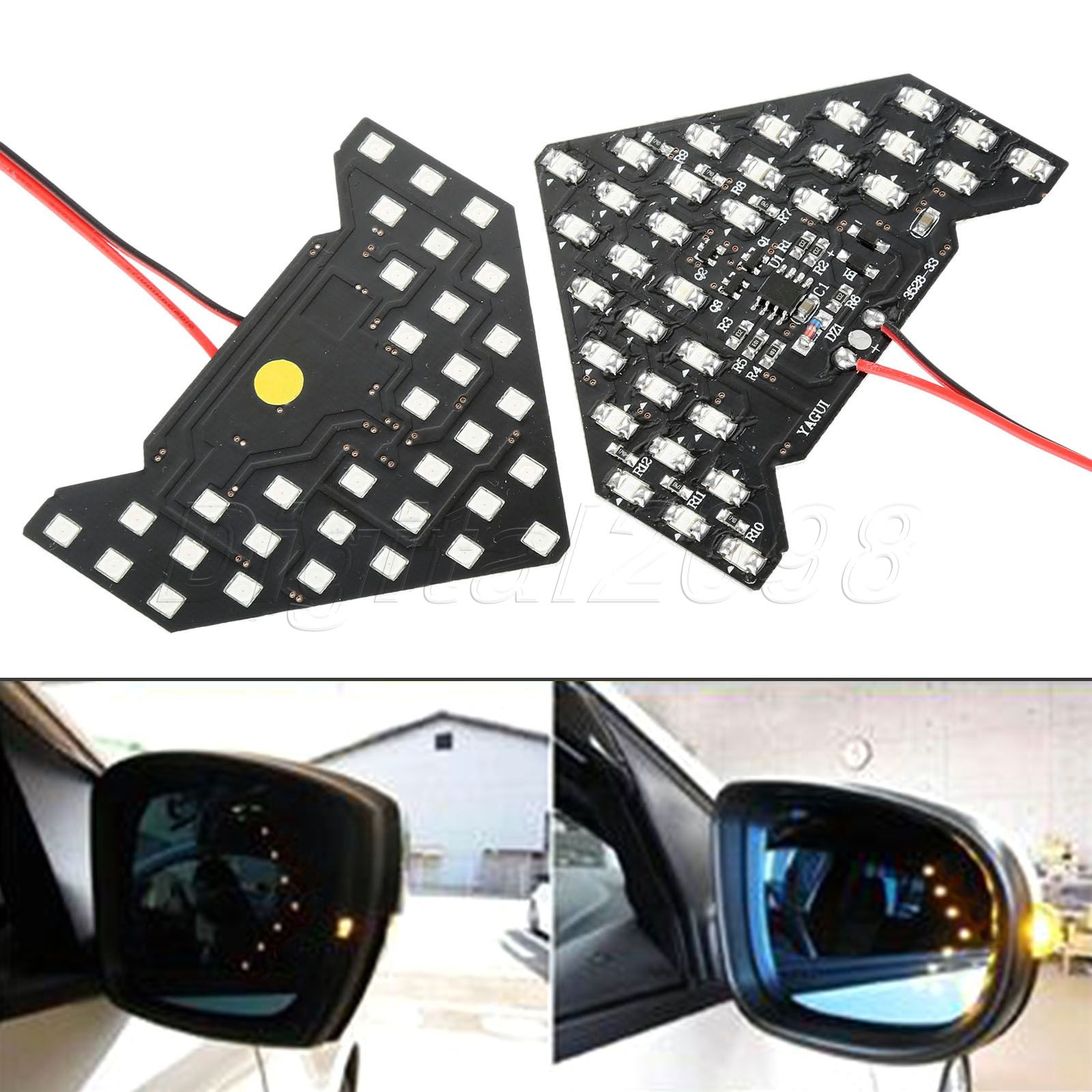 Yetaha 2PCS Led Turn Signal Lights Arrows Lamp Indicator Car Rearview Mirror Panel Yellow Blue Red Color 33 SMD LED High Quality leadtops 2pcs 33 smd led arrow panels car side mirror turn signal indicator lights sequential yellow red blue green white be