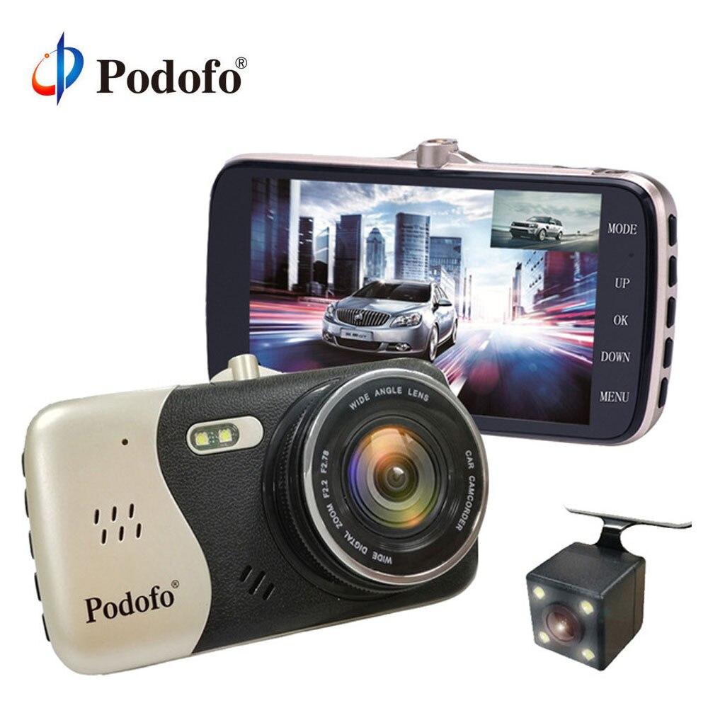 Podofo 4 ''Dashcam ips Видеорегистраторы для автомобилей Камера Новатэк NTK96658 Двойной объектив HD 1080 P регистратор Регистраторы с резервным заднего Ка...