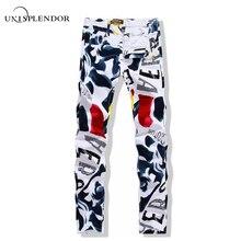 Большой Размеры 28-44 белый с принтом Для мужчин Джинсы для женщин модные мужские Уникальные Хлопковые джинсы для мужчин Для Мужчин's Повседневное мусора Штаны с рисунком Hombre YN156