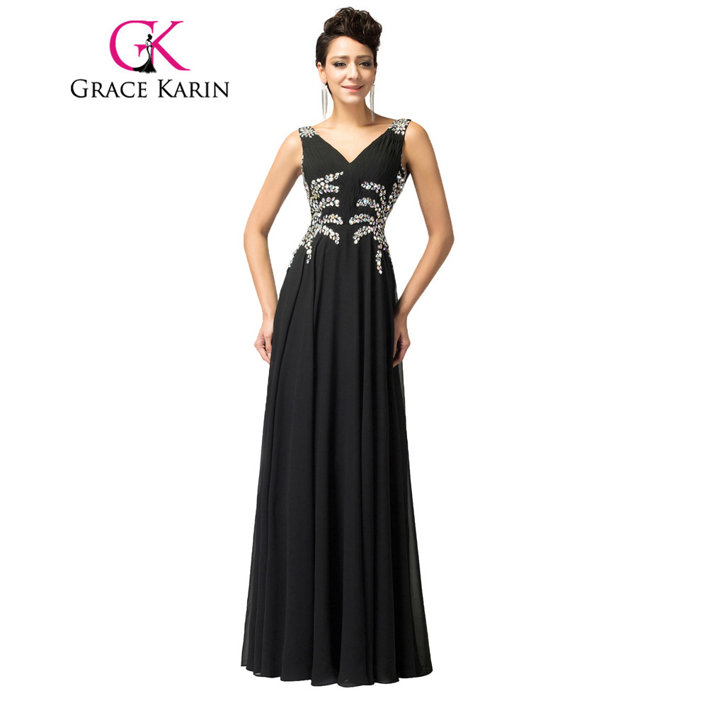 Grace Karin Long   Prom     Dress   2018 Sequined Beads Black Blue Pink Chiffon Long Evening Party Gowns Backless Special Occasion   Dress