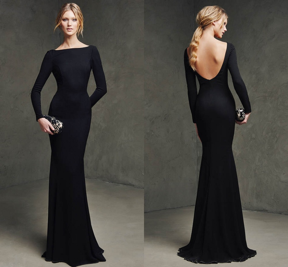 Simple Elegant Open Back Long Sleeve Wedding Dress: Sexy Black Long Evening Dresses Scalloped Neck Backless