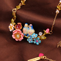 Fashion Romantic L*S Three-dimensional Blue Tit Love Birdie Rose Flower Blue Daisy Rose Necklace