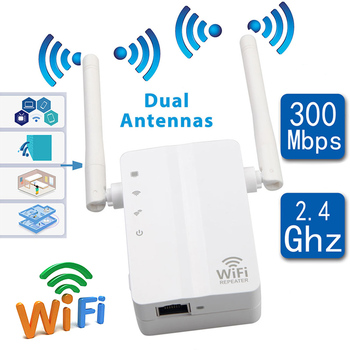 WiFi Signal Booster Repeater Range Extender 300Mbps Wireless Router Dual Antennas EU Plug  SL@88