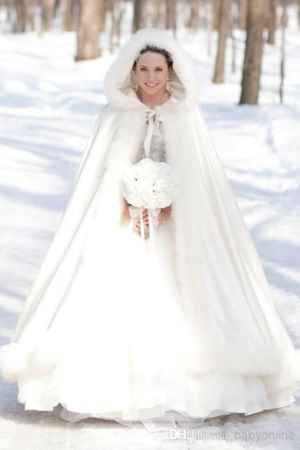 2017 Plus size Winter Bridal Cape Faux Fur Wedding Cloaks Hooded ...
