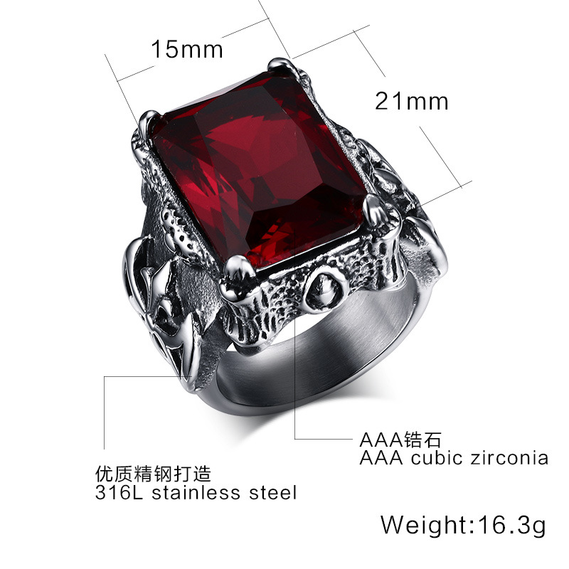 2016 new Punk gothic restoring ancient rings men titanium steel ring with red rhinestone jewelry Can carve letters