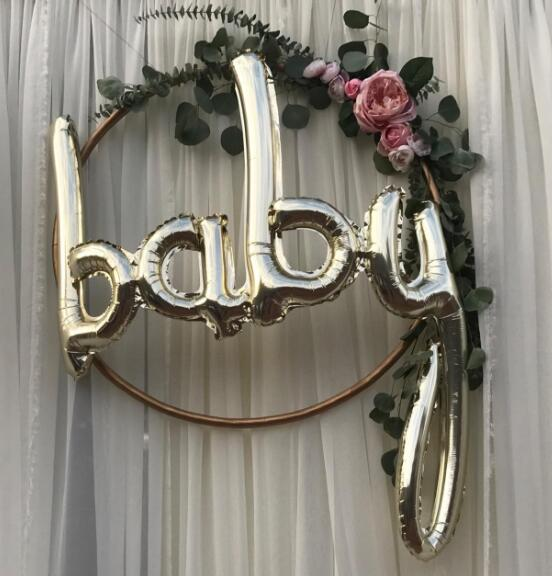 Jumbo White Gold Baby Balloon Baby Boy Script Balloon Baby Shower Air Fiol Helium Balloon Gender Reveal Decorations