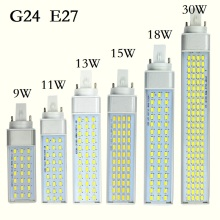 Brand New LED Lamp G23 G24 E27 11W 5730 LED downlight Horizontal Plug lamp Light Bombillas led Corn Bulb Spotlight(China)