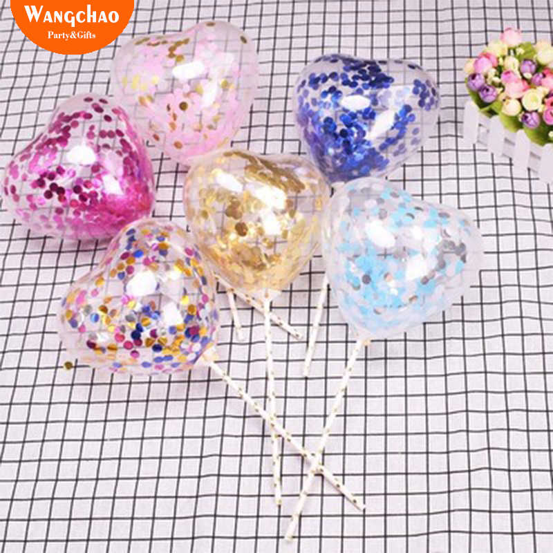 10pcs/bag Love Heart Balloon Cake Topper Happy Birthday Party Cake Decoration Kids Favors and Gifts Baby Shower Decora 6 colors