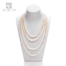 pearl size:5.5-7.5mm Natural pearl necklace freshwater pearl long necklace double knotted with Japanese thread pearl necklace