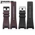 32*17mm black brown genuine pulseira de couro com fecho de aço inoxidável strap homens Dedicados Diesel ajuste DZ4246 DZ1273b pulseira