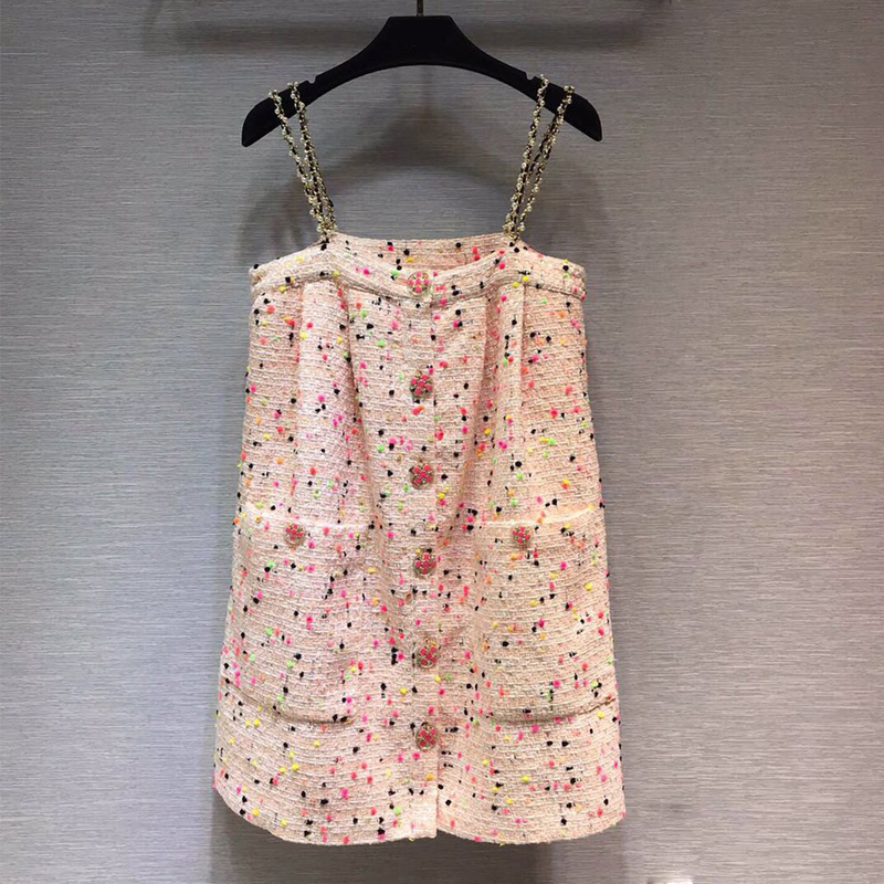 Red RoosaRosee Fashion Runway Designer Women Extra Mini Strap Dress Buttons Dot Pink Party Dresses New