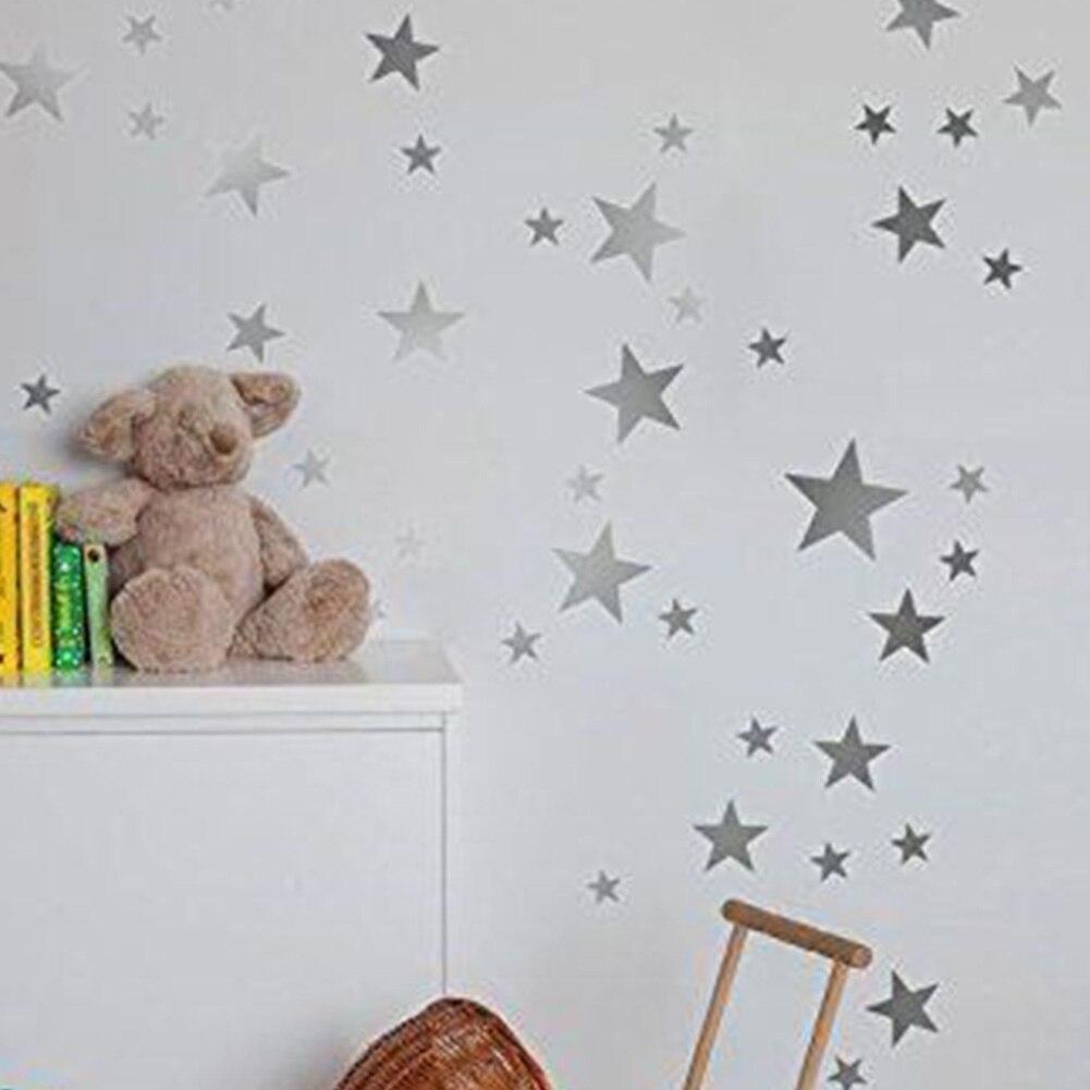 55pcs/set Nursery Bedroom Vinyl Non-toxic Easy Paste Gift Wall Sticker Decorations Various Size PVC Star Pattern Self Adhesive