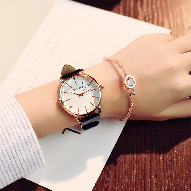 Polygonal dial design women watches luxury fashion dress quartz watch ulzzang popular brand white ladies leather wristwatch Lahore