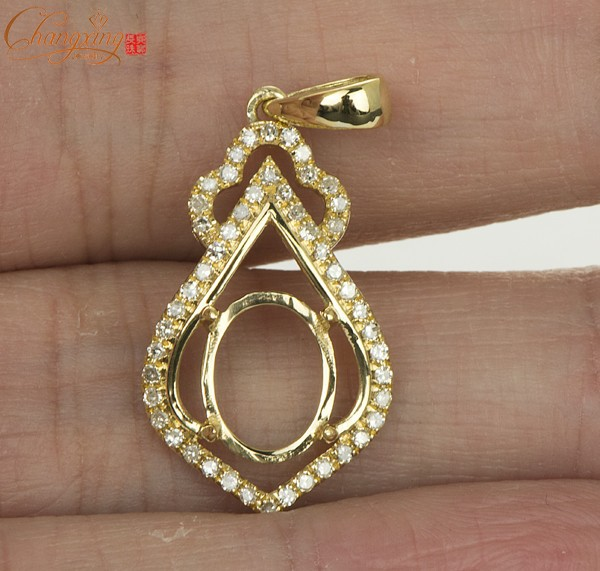 7x9mm oval solid 14kt yellow gold natural diamond semi mount pendant 7x9mm oval solid 14kt yellow gold natural diamond semi mount pendant settings aloadofball Choice Image